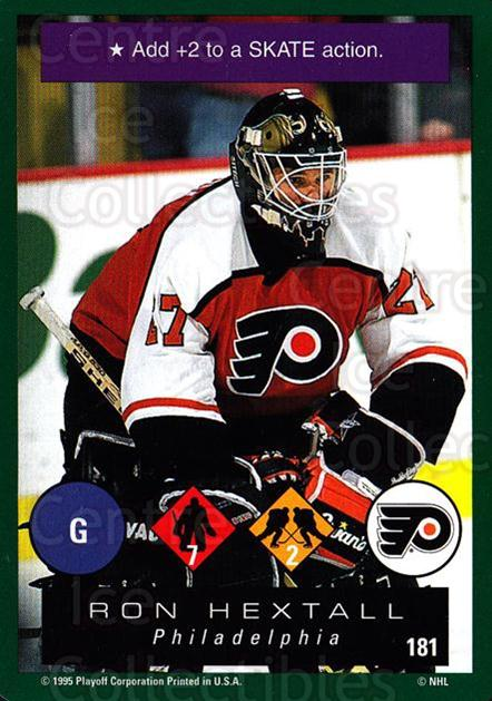 1995-96 Playoff One on One #181 Ron Hextall<br/>7 In Stock - $1.00 each - <a href=https://centericecollectibles.foxycart.com/cart?name=1995-96%20Playoff%20One%20on%20One%20%23181%20Ron%20Hextall...&quantity_max=7&price=$1.00&code=42378 class=foxycart> Buy it now! </a>