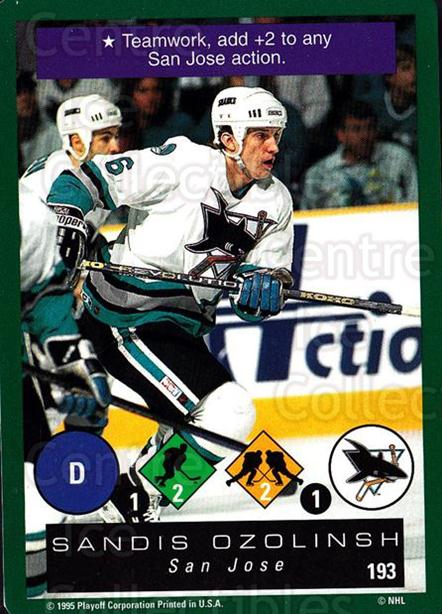 1995-96 Playoff One on One #193 Sandis Ozolinsh<br/>7 In Stock - $1.00 each - <a href=https://centericecollectibles.foxycart.com/cart?name=1995-96%20Playoff%20One%20on%20One%20%23193%20Sandis%20Ozolinsh...&quantity_max=7&price=$1.00&code=42391 class=foxycart> Buy it now! </a>