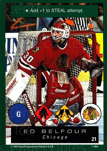 1995-96 Playoff One on One #21 Ed Belfour<br/>6 In Stock - $1.00 each - <a href=https://centericecollectibles.foxycart.com/cart?name=1995-96%20Playoff%20One%20on%20One%20%2321%20Ed%20Belfour...&price=$1.00&code=42410 class=foxycart> Buy it now! </a>