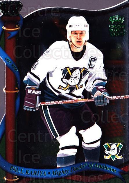 2001-02 Crown Royale Retail #4 Paul Kariya<br/>7 In Stock - $1.00 each - <a href=https://centericecollectibles.foxycart.com/cart?name=2001-02%20Crown%20Royale%20Retail%20%234%20Paul%20Kariya...&quantity_max=7&price=$1.00&code=426102 class=foxycart> Buy it now! </a>