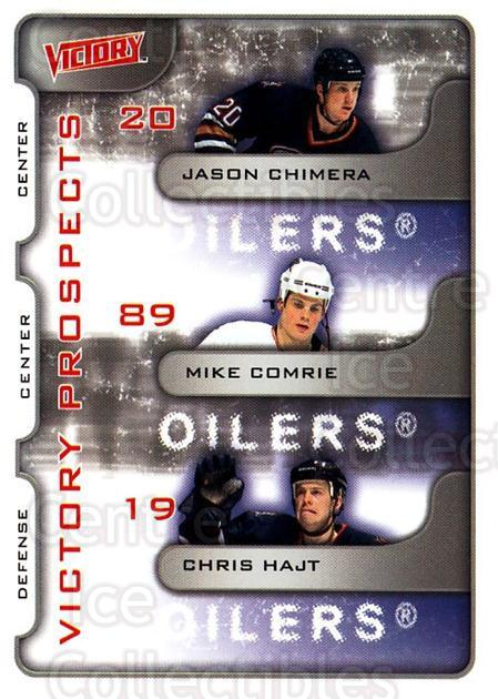 2001-02 UD Victory #370 Jason Chimera, Mike Comrie, Chris Hajt<br/>2 In Stock - $2.00 each - <a href=https://centericecollectibles.foxycart.com/cart?name=2001-02%20UD%20Victory%20%23370%20Jason%20Chimera,%20...&quantity_max=2&price=$2.00&code=429078 class=foxycart> Buy it now! </a>