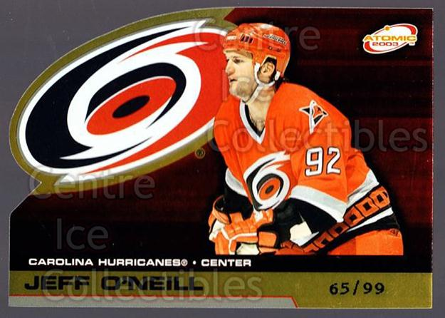 2002-03 Atomic Gold #18 Jeff O'Neill<br/>1 In Stock - $5.00 each - <a href=https://centericecollectibles.foxycart.com/cart?name=2002-03%20Atomic%20Gold%20%2318%20Jeff%20O'Neill...&quantity_max=1&price=$5.00&code=429797 class=foxycart> Buy it now! </a>