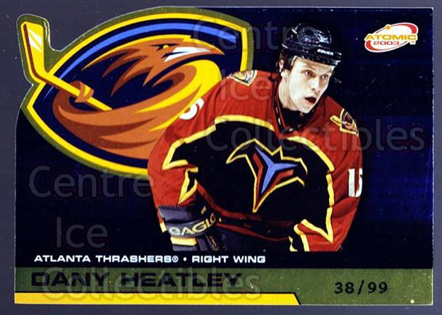 2002-03 Atomic Gold #4 Dany Heatley<br/>1 In Stock - $5.00 each - <a href=https://centericecollectibles.foxycart.com/cart?name=2002-03%20Atomic%20Gold%20%234%20Dany%20Heatley...&quantity_max=1&price=$5.00&code=429814 class=foxycart> Buy it now! </a>