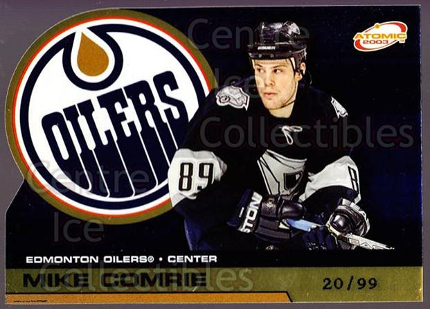 2002-03 Atomic Gold #42 Mike Comrie<br/>1 In Stock - $5.00 each - <a href=https://centericecollectibles.foxycart.com/cart?name=2002-03%20Atomic%20Gold%20%2342%20Mike%20Comrie...&quantity_max=1&price=$5.00&code=429816 class=foxycart> Buy it now! </a>