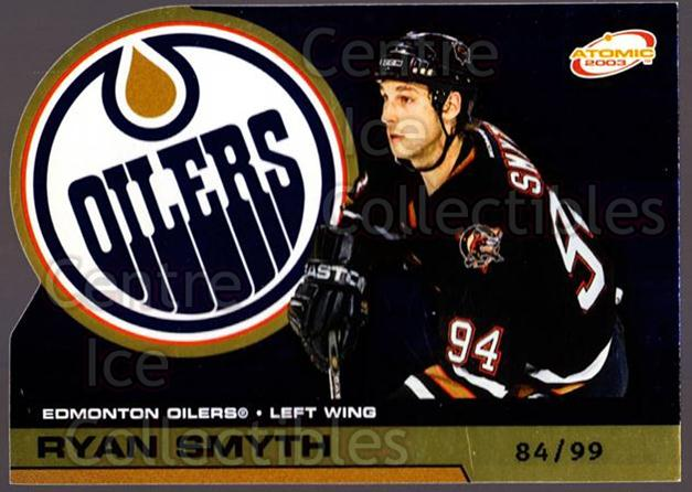 2002-03 Atomic Gold #44 Ryan Smyth<br/>1 In Stock - $5.00 each - <a href=https://centericecollectibles.foxycart.com/cart?name=2002-03%20Atomic%20Gold%20%2344%20Ryan%20Smyth...&quantity_max=1&price=$5.00&code=429818 class=foxycart> Buy it now! </a>