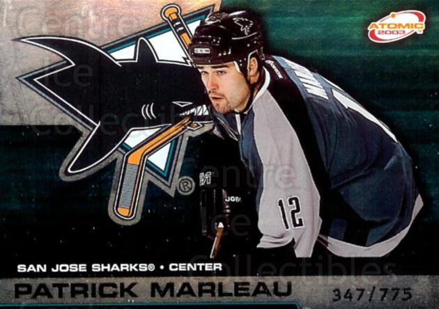 2002-03 Atomic Hobby Parallel #85 Patrick Marleau<br/>1 In Stock - $3.00 each - <a href=https://centericecollectibles.foxycart.com/cart?name=2002-03%20Atomic%20Hobby%20Parallel%20%2385%20Patrick%20Marleau...&quantity_max=1&price=$3.00&code=429982 class=foxycart> Buy it now! </a>