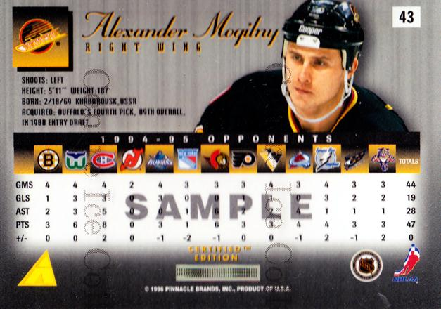 1995-96 Select Certified Promos #43 Alexander Mogilny<br/>1 In Stock - $2.00 each - <a href=https://centericecollectibles.foxycart.com/cart?name=1995-96%20Select%20Certified%20Promos%20%2343%20Alexander%20Mogil...&quantity_max=1&price=$2.00&code=43094 class=foxycart> Buy it now! </a>