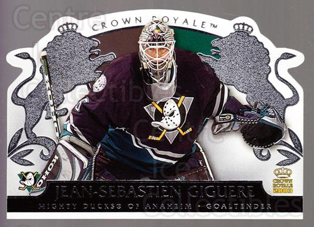 2002-03 Crown Royale Retail #1 Jean-Sebastien Giguere<br/>3 In Stock - $1.00 each - <a href=https://centericecollectibles.foxycart.com/cart?name=2002-03%20Crown%20Royale%20Retail%20%231%20Jean-Sebastien%20...&quantity_max=3&price=$1.00&code=431284 class=foxycart> Buy it now! </a>
