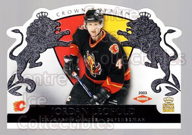 2002-03 Crown Royale Retail #107 Jordan Leopold<br/>2 In Stock - $3.00 each - <a href=https://centericecollectibles.foxycart.com/cart?name=2002-03%20Crown%20Royale%20Retail%20%23107%20Jordan%20Leopold...&quantity_max=2&price=$3.00&code=431291 class=foxycart> Buy it now! </a>