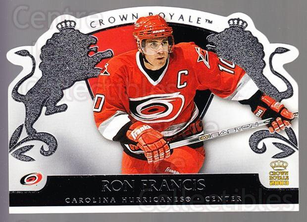 2002-03 Crown Royale Retail #17 Ron Francis<br/>3 In Stock - $1.00 each - <a href=https://centericecollectibles.foxycart.com/cart?name=2002-03%20Crown%20Royale%20Retail%20%2317%20Ron%20Francis...&quantity_max=3&price=$1.00&code=431329 class=foxycart> Buy it now! </a>