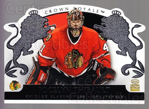 2002-03 Crown Royale Retail #21 Jocelyn Thibault<br/>2 In Stock - $1.00 each - <a href=https://centericecollectibles.foxycart.com/cart?name=2002-03%20Crown%20Royale%20Retail%20%2321%20Jocelyn%20Thibaul...&quantity_max=2&price=$1.00&code=431334 class=foxycart> Buy it now! </a>