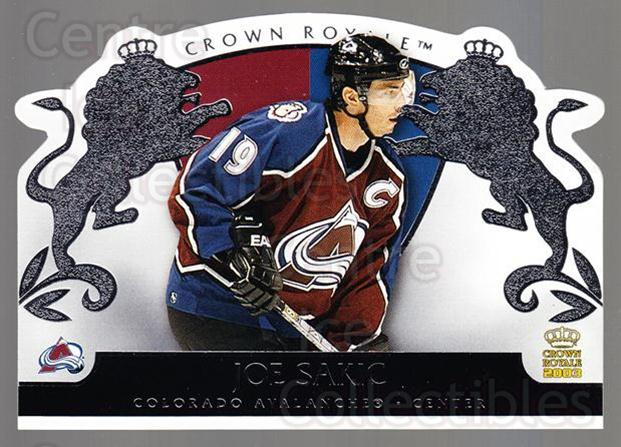 2002-03 Crown Royale Retail #26 Joe Sakic<br/>2 In Stock - $3.00 each - <a href=https://centericecollectibles.foxycart.com/cart?name=2002-03%20Crown%20Royale%20Retail%20%2326%20Joe%20Sakic...&quantity_max=2&price=$3.00&code=431412 class=foxycart> Buy it now! </a>