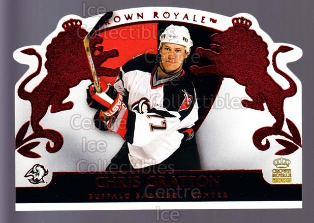 2002-03 Crown Royale Red #11 Chris Gratton<br/>4 In Stock - $3.00 each - <a href=https://centericecollectibles.foxycart.com/cart?name=2002-03%20Crown%20Royale%20Red%20%2311%20Chris%20Gratton...&quantity_max=4&price=$3.00&code=431434 class=foxycart> Buy it now! </a>