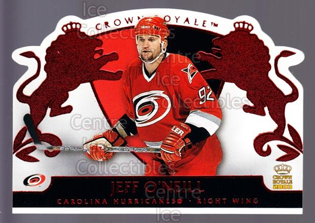 2002-03 Crown Royale Red #19 Jeff O'Neill<br/>4 In Stock - $3.00 each - <a href=https://centericecollectibles.foxycart.com/cart?name=2002-03%20Crown%20Royale%20Red%20%2319%20Jeff%20O'Neill...&quantity_max=4&price=$3.00&code=431471 class=foxycart> Buy it now! </a>
