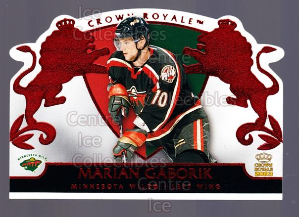 2002-03 Crown Royale Red #48 Marian Gaborik<br/>2 In Stock - $3.00 each - <a href=https://centericecollectibles.foxycart.com/cart?name=2002-03%20Crown%20Royale%20Red%20%2348%20Marian%20Gaborik...&quantity_max=2&price=$3.00&code=431496 class=foxycart> Buy it now! </a>