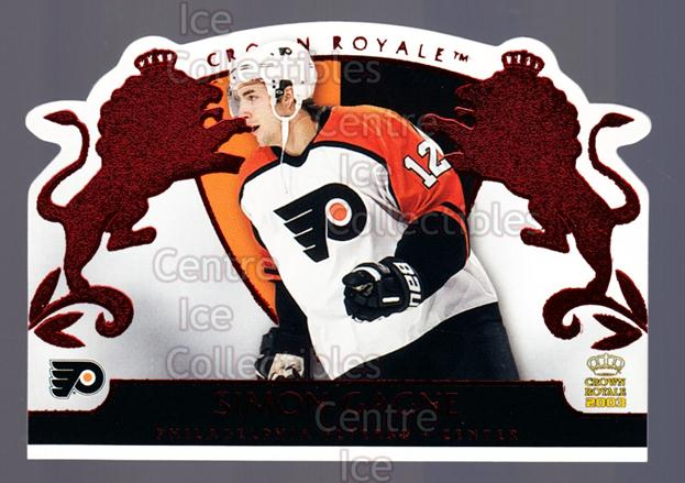 2002-03 Crown Royale Red #70 Simon Gagne<br/>2 In Stock - $3.00 each - <a href=https://centericecollectibles.foxycart.com/cart?name=2002-03%20Crown%20Royale%20Red%20%2370%20Simon%20Gagne...&quantity_max=2&price=$3.00&code=431519 class=foxycart> Buy it now! </a>
