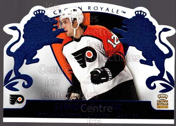 2002-03 Crown Royale Blue #70 Simon Gagne<br/>2 In Stock - $3.00 each - <a href=https://centericecollectibles.foxycart.com/cart?name=2002-03%20Crown%20Royale%20Blue%20%2370%20Simon%20Gagne...&quantity_max=2&price=$3.00&code=431574 class=foxycart> Buy it now! </a>