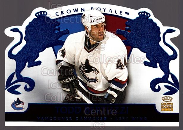 2002-03 Crown Royale Blue #94 Todd Bertuzzi<br/>2 In Stock - $3.00 each - <a href=https://centericecollectibles.foxycart.com/cart?name=2002-03%20Crown%20Royale%20Blue%20%2394%20Todd%20Bertuzzi...&quantity_max=2&price=$3.00&code=431598 class=foxycart> Buy it now! </a>