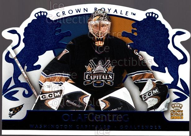 2002-03 Crown Royale Blue #100 Olaf Kolzig<br/>2 In Stock - $3.00 each - <a href=https://centericecollectibles.foxycart.com/cart?name=2002-03%20Crown%20Royale%20Blue%20%23100%20Olaf%20Kolzig...&quantity_max=2&price=$3.00&code=431621 class=foxycart> Buy it now! </a>