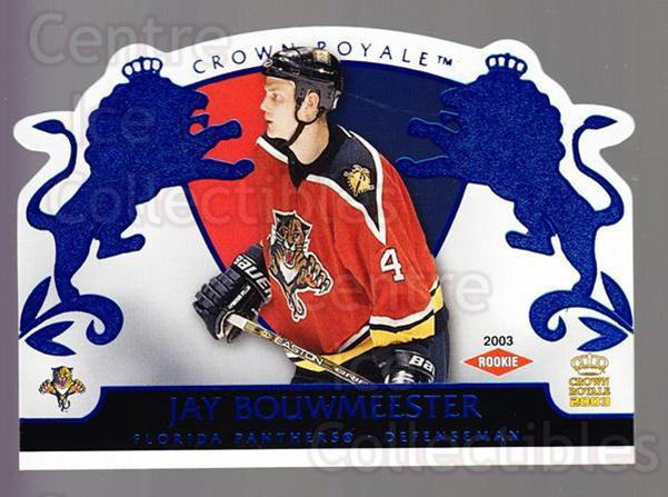 2002-03 Crown Royale Blue #115 Jay Bouwmeester<br/>1 In Stock - $5.00 each - <a href=https://centericecollectibles.foxycart.com/cart?name=2002-03%20Crown%20Royale%20Blue%20%23115%20Jay%20Bouwmeester...&quantity_max=1&price=$5.00&code=431634 class=foxycart> Buy it now! </a>