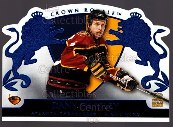 2002-03 Crown Royale Blue #4 Dany Heatley<br/>1 In Stock - $3.00 each - <a href=https://centericecollectibles.foxycart.com/cart?name=2002-03%20Crown%20Royale%20Blue%20%234%20Dany%20Heatley...&quantity_max=1&price=$3.00&code=431682 class=foxycart> Buy it now! </a>