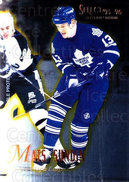 1995-96 Select Certified #7 Mats Sundin<br/>5 In Stock - $1.00 each - <a href=https://centericecollectibles.foxycart.com/cart?name=1995-96%20Select%20Certified%20%237%20Mats%20Sundin...&quantity_max=5&price=$1.00&code=43198 class=foxycart> Buy it now! </a>