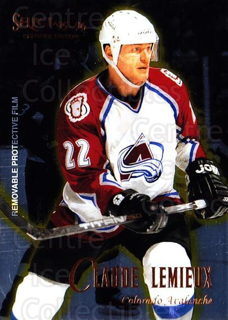 1995-96 Select Certified #99 Claude Lemieux<br/>4 In Stock - $1.00 each - <a href=https://centericecollectibles.foxycart.com/cart?name=1995-96%20Select%20Certified%20%2399%20Claude%20Lemieux...&quantity_max=4&price=$1.00&code=43227 class=foxycart> Buy it now! </a>