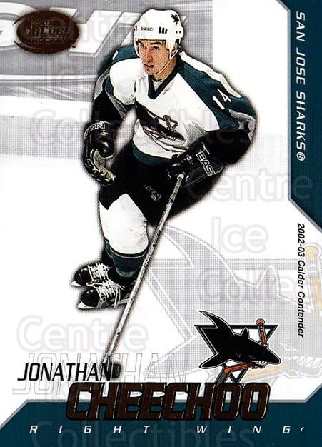 2002-03 Pacific Calder #93 Jonathan Cheechoo<br/>5 In Stock - $1.00 each - <a href=https://centericecollectibles.foxycart.com/cart?name=2002-03%20Pacific%20Calder%20%2393%20Jonathan%20Cheech...&quantity_max=5&price=$1.00&code=432429 class=foxycart> Buy it now! </a>
