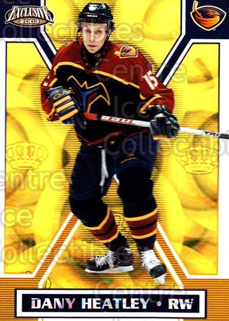 2002-03 Pacific Exclusive Gold #5 Dany Heatley<br/>4 In Stock - $2.00 each - <a href=https://centericecollectibles.foxycart.com/cart?name=2002-03%20Pacific%20Exclusive%20Gold%20%235%20Dany%20Heatley...&quantity_max=4&price=$2.00&code=432904 class=foxycart> Buy it now! </a>