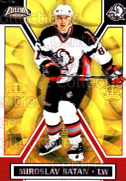 2002-03 Pacific Exclusive Gold #20 Miroslav Satan<br/>4 In Stock - $2.00 each - <a href=https://centericecollectibles.foxycart.com/cart?name=2002-03%20Pacific%20Exclusive%20Gold%20%2320%20Miroslav%20Satan...&quantity_max=4&price=$2.00&code=432919 class=foxycart> Buy it now! </a>