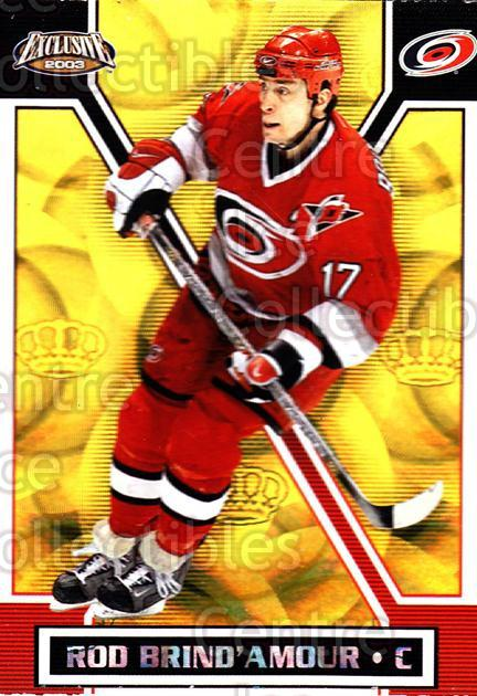 2002-03 Pacific Exclusive Gold #26 Rod Brind'Amour<br/>5 In Stock - $2.00 each - <a href=https://centericecollectibles.foxycart.com/cart?name=2002-03%20Pacific%20Exclusive%20Gold%20%2326%20Rod%20Brind'Amour...&quantity_max=5&price=$2.00&code=432925 class=foxycart> Buy it now! </a>