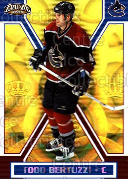 2002-03 Pacific Exclusive Gold #165 Todd Bertuzzi<br/>4 In Stock - $2.00 each - <a href=https://centericecollectibles.foxycart.com/cart?name=2002-03%20Pacific%20Exclusive%20Gold%20%23165%20Todd%20Bertuzzi...&quantity_max=4&price=$2.00&code=433064 class=foxycart> Buy it now! </a>