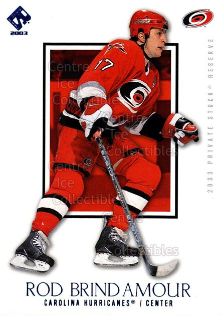 2002-03 Private Stock Blue #15 Rod Brind'Amour<br/>2 In Stock - $3.00 each - <a href=https://centericecollectibles.foxycart.com/cart?name=2002-03%20Private%20Stock%20Blue%20%2315%20Rod%20Brind'Amour...&quantity_max=2&price=$3.00&code=433871 class=foxycart> Buy it now! </a>