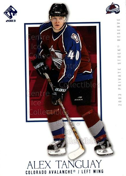 2002-03 Private Stock Blue #28 Alex Tanguay<br/>1 In Stock - $3.00 each - <a href=https://centericecollectibles.foxycart.com/cart?name=2002-03%20Private%20Stock%20Blue%20%2328%20Alex%20Tanguay...&quantity_max=1&price=$3.00&code=433884 class=foxycart> Buy it now! </a>
