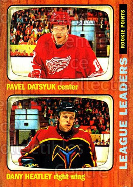 2002-03 Topps Heritage #111 Pavel Datsyuk, Dany Heatley<br/>3 In Stock - $2.00 each - <a href=https://centericecollectibles.foxycart.com/cart?name=2002-03%20Topps%20Heritage%20%23111%20Pavel%20Datsyuk,%20...&quantity_max=3&price=$2.00&code=436146 class=foxycart> Buy it now! </a>