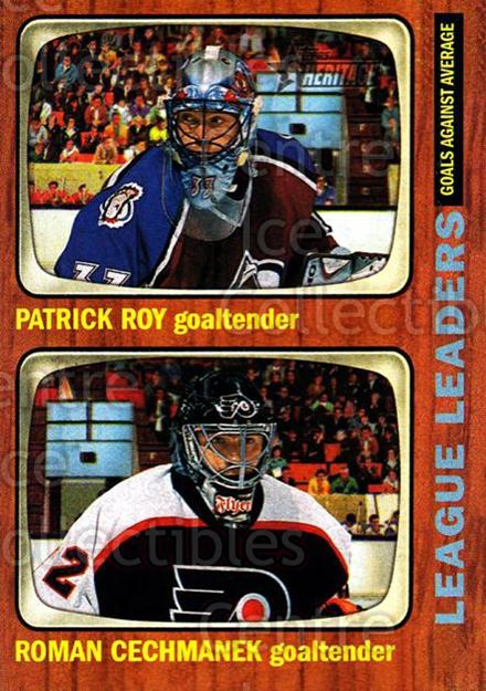 2002-03 Topps Heritage #117 Patrick Roy, Roman Cechmanek<br/>2 In Stock - $3.00 each - <a href=https://centericecollectibles.foxycart.com/cart?name=2002-03%20Topps%20Heritage%20%23117%20Patrick%20Roy,%20Ro...&quantity_max=2&price=$3.00&code=436152 class=foxycart> Buy it now! </a>