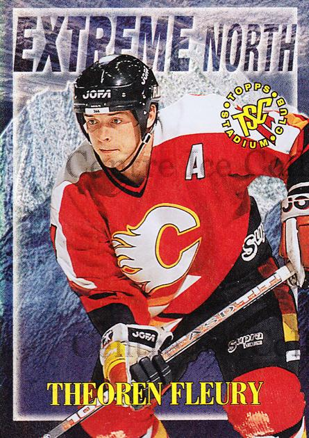 1995-96 Stadium Club Extreme North #5 Theo Fleury<br/>8 In Stock - $3.00 each - <a href=https://centericecollectibles.foxycart.com/cart?name=1995-96%20Stadium%20Club%20Extreme%20North%20%235%20Theo%20Fleury...&quantity_max=8&price=$3.00&code=43643 class=foxycart> Buy it now! </a>