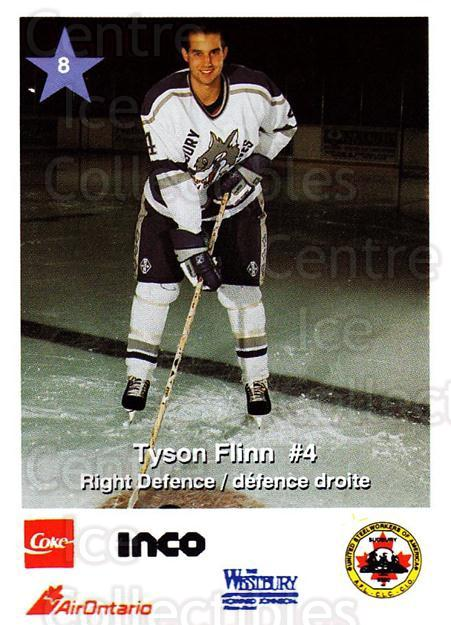 1995-96 Sudbury Wolves Police #8 Tyson Flinn<br/>8 In Stock - $3.00 each - <a href=https://centericecollectibles.foxycart.com/cart?name=1995-96%20Sudbury%20Wolves%20Police%20%238%20Tyson%20Flinn...&quantity_max=8&price=$3.00&code=43850 class=foxycart> Buy it now! </a>