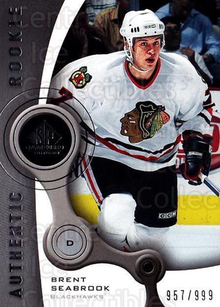 2005-06 Sp Game Used #122 Brent Seabrook<br/>1 In Stock - $10.00 each - <a href=https://centericecollectibles.foxycart.com/cart?name=2005-06%20Sp%20Game%20Used%20%23122%20Brent%20Seabrook...&quantity_max=1&price=$10.00&code=438641 class=foxycart> Buy it now! </a>