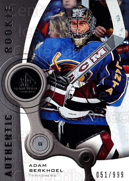 2005-06 Sp Game Used #167 Adam Berkhoel<br/>5 In Stock - $5.00 each - <a href=https://centericecollectibles.foxycart.com/cart?name=2005-06%20Sp%20Game%20Used%20%23167%20Adam%20Berkhoel...&quantity_max=5&price=$5.00&code=438686 class=foxycart> Buy it now! </a>