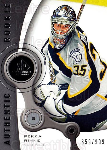 2005-06 Sp Game Used #221 Pekka Rinne<br/>2 In Stock - $25.00 each - <a href=https://centericecollectibles.foxycart.com/cart?name=2005-06%20Sp%20Game%20Used%20%23221%20Pekka%20Rinne...&quantity_max=2&price=$25.00&code=438740 class=foxycart> Buy it now! </a>