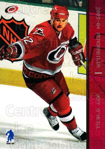 2003-04 BAP Memorabilia Ruby #38 Jeff O'Neill<br/>4 In Stock - $3.00 each - <a href=https://centericecollectibles.foxycart.com/cart?name=2003-04%20BAP%20Memorabilia%20Ruby%20%2338%20Jeff%20O'Neill...&quantity_max=4&price=$3.00&code=441439 class=foxycart> Buy it now! </a>