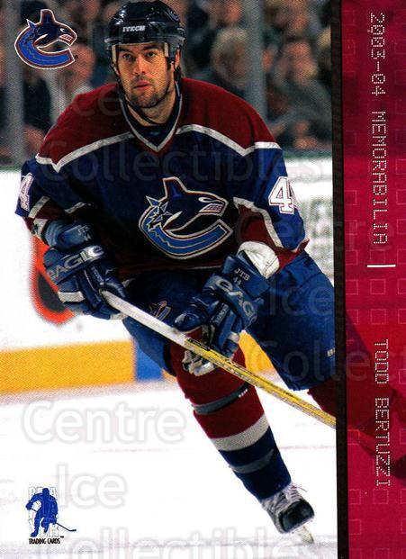 2003-04 BAP Memorabilia Ruby #94 Todd Bertuzzi<br/>6 In Stock - $3.00 each - <a href=https://centericecollectibles.foxycart.com/cart?name=2003-04%20BAP%20Memorabilia%20Ruby%20%2394%20Todd%20Bertuzzi...&quantity_max=6&price=$3.00&code=441453 class=foxycart> Buy it now! </a>