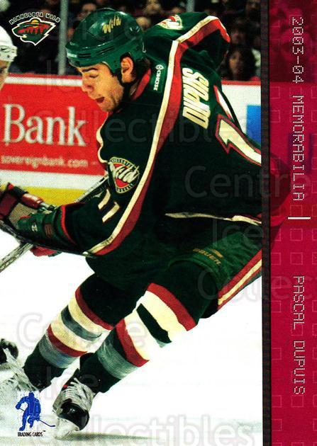 2003-04 BAP Memorabilia Ruby #64 Pascal Dupuis<br/>4 In Stock - $3.00 each - <a href=https://centericecollectibles.foxycart.com/cart?name=2003-04%20BAP%20Memorabilia%20Ruby%20%2364%20Pascal%20Dupuis...&quantity_max=4&price=$3.00&code=441499 class=foxycart> Buy it now! </a>
