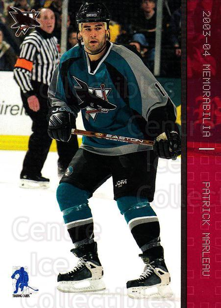 2003-04 BAP Memorabilia Ruby #65 Patrick Marleau<br/>3 In Stock - $3.00 each - <a href=https://centericecollectibles.foxycart.com/cart?name=2003-04%20BAP%20Memorabilia%20Ruby%20%2365%20Patrick%20Marleau...&quantity_max=3&price=$3.00&code=441538 class=foxycart> Buy it now! </a>