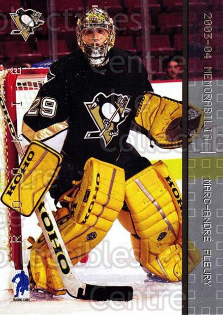 2003-04 BAP Memorabilia #183 Marc-Andre Fleury<br/>43 In Stock - $5.00 each - <a href=https://centericecollectibles.foxycart.com/cart?name=2003-04%20BAP%20Memorabilia%20%23183%20Marc-Andre%20Fleu...&quantity_max=43&price=$5.00&code=441744 class=foxycart> Buy it now! </a>