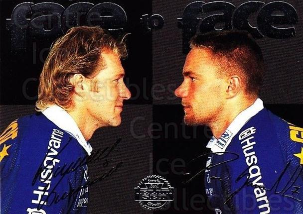 1995-96 Swedish Leaf Face to Face #6 Kenneth Kennholt, Per Gustafsson<br/>6 In Stock - $3.00 each - <a href=https://centericecollectibles.foxycart.com/cart?name=1995-96%20Swedish%20Leaf%20Face%20to%20Face%20%236%20Kenneth%20Kennhol...&price=$3.00&code=44185 class=foxycart> Buy it now! </a>