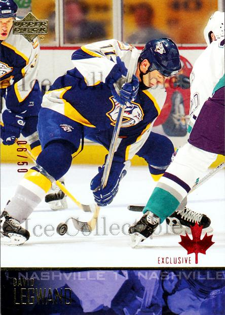2003-04 Upper Deck UD Exclusives Canadian #106 David Legwand<br/>1 In Stock - $5.00 each - <a href=https://centericecollectibles.foxycart.com/cart?name=2003-04%20Upper%20Deck%20UD%20Exclusives%20Canadian%20%23106%20David%20Legwand...&quantity_max=1&price=$5.00&code=441937 class=foxycart> Buy it now! </a>