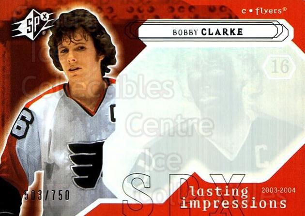 2003-04 SPx #104 Bobby Clarke<br/>1 In Stock - $3.00 each - <a href=https://centericecollectibles.foxycart.com/cart?name=2003-04%20SPx%20%23104%20Bobby%20Clarke...&quantity_max=1&price=$3.00&code=443379 class=foxycart> Buy it now! </a>