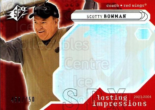 2003-04 SPx #105 Scotty Bowman<br/>1 In Stock - $3.00 each - <a href=https://centericecollectibles.foxycart.com/cart?name=2003-04%20SPx%20%23105%20Scotty%20Bowman...&quantity_max=1&price=$3.00&code=443380 class=foxycart> Buy it now! </a>